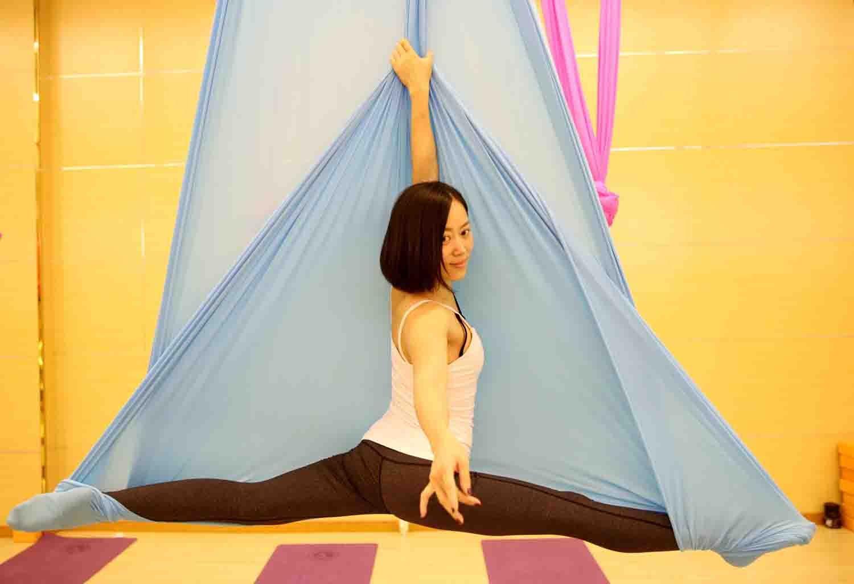 Aerial Yoga Hammock 5.5 Yards Premium Aerial Silk Fabric Yoga Swing for Antigravity Yoga Inversion Include Daisy Chain,Carabiner and Pose Guide (Lake Blue)