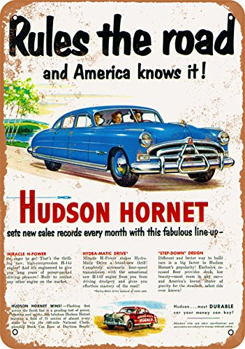 Wall-Color 7 x 10 Metal Sign - Hudson Hornet - Vintage Look