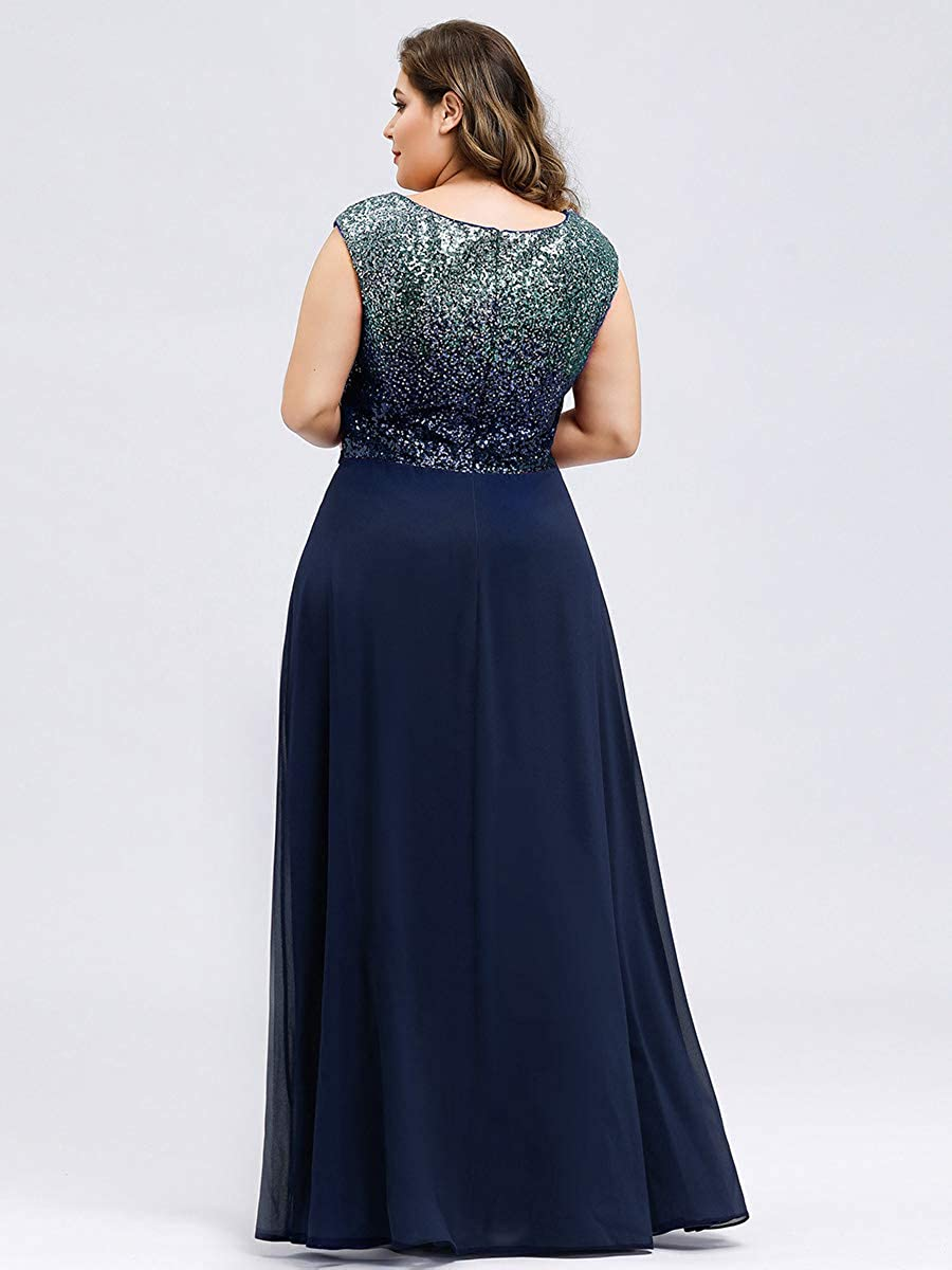 Ever-Pretty Womens Elegant A Line V Neck Sleeveless Empire Waist with Sequin Chiffon Plus Size Bridesmaid Dresses 00962PL