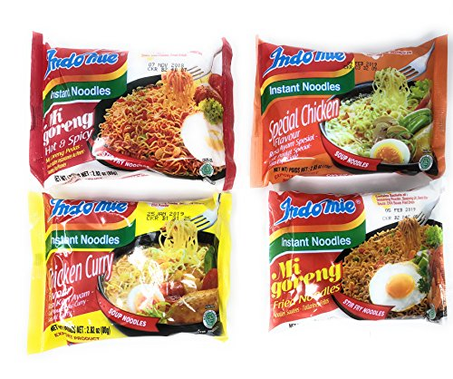 Fusion Select Indomie Variety Pack - 1 Case (30 Bags) - Stir Fry, Special Chicken, Chicken Curry & Mi goreng Hot & -