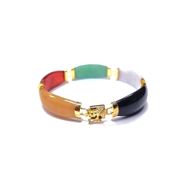 Regalia by Ulti Ramos 14K Yellow Gold Tapered Jade Link Bracelet (Multicolor)
