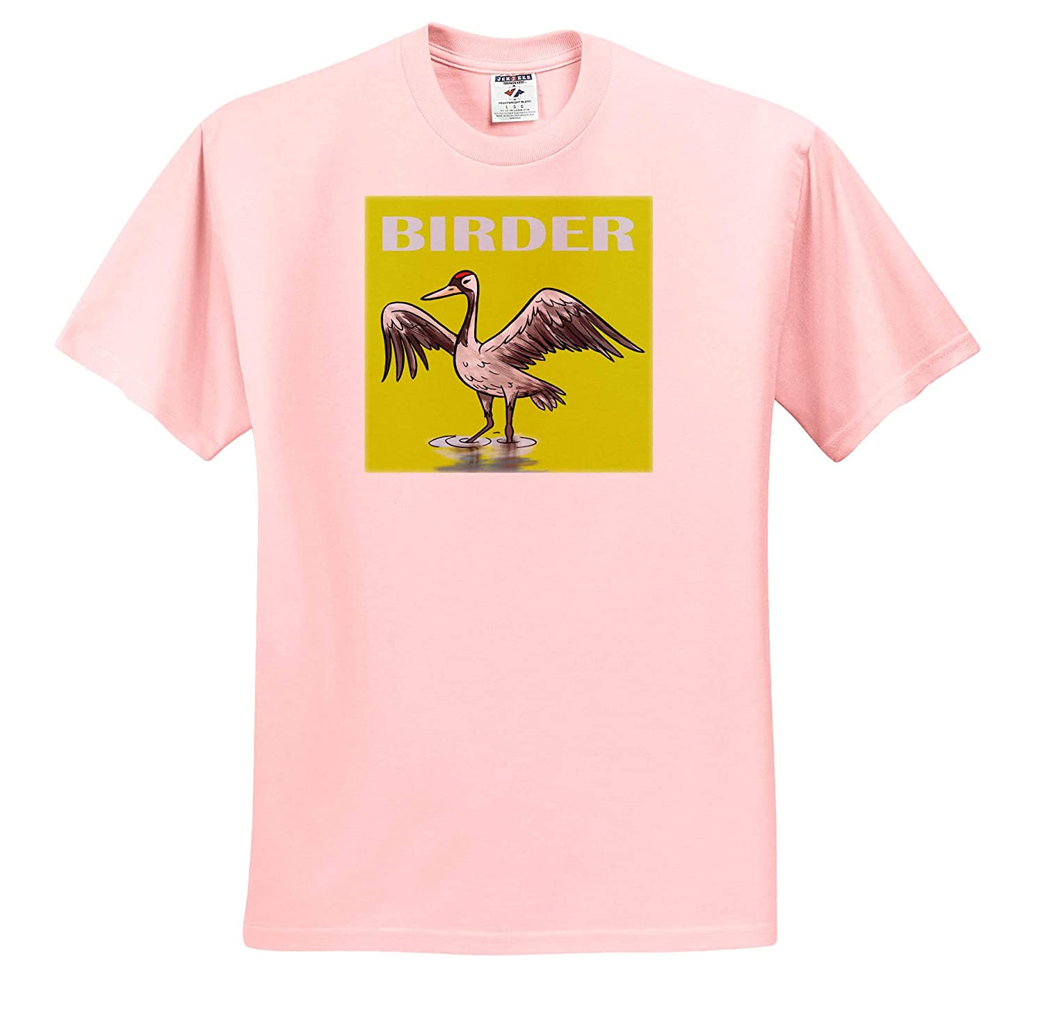 T-Shirts Ligh Blue Birder with Crane Drawing on Yellow Green Background 3dRose Kike Calvo Bird Watching and Ornithology
