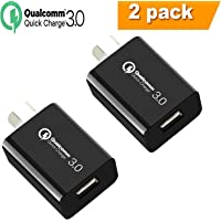 Quick Charge 3.0 Wall Charger, IGUGIG 18W Qualcomm USB Wall Charger Adapter with Smart IC, SAA Certification for iPhoneXs/Xs Max/X /8 Plus/8/7Plus/7,iPad,iPod,Samsung,HTC,Xiaomi,Huawei,LG (2 Pack -Black)