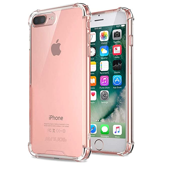 size 40 c7efa 7f31b iPhone 8 Plus Case, iPhone 7 Plus Case, Jenuos Clear Soft TPU Shockproof  Bumper Phone Case Cover for Apple iPhone 7 / 8 Plus 5.5