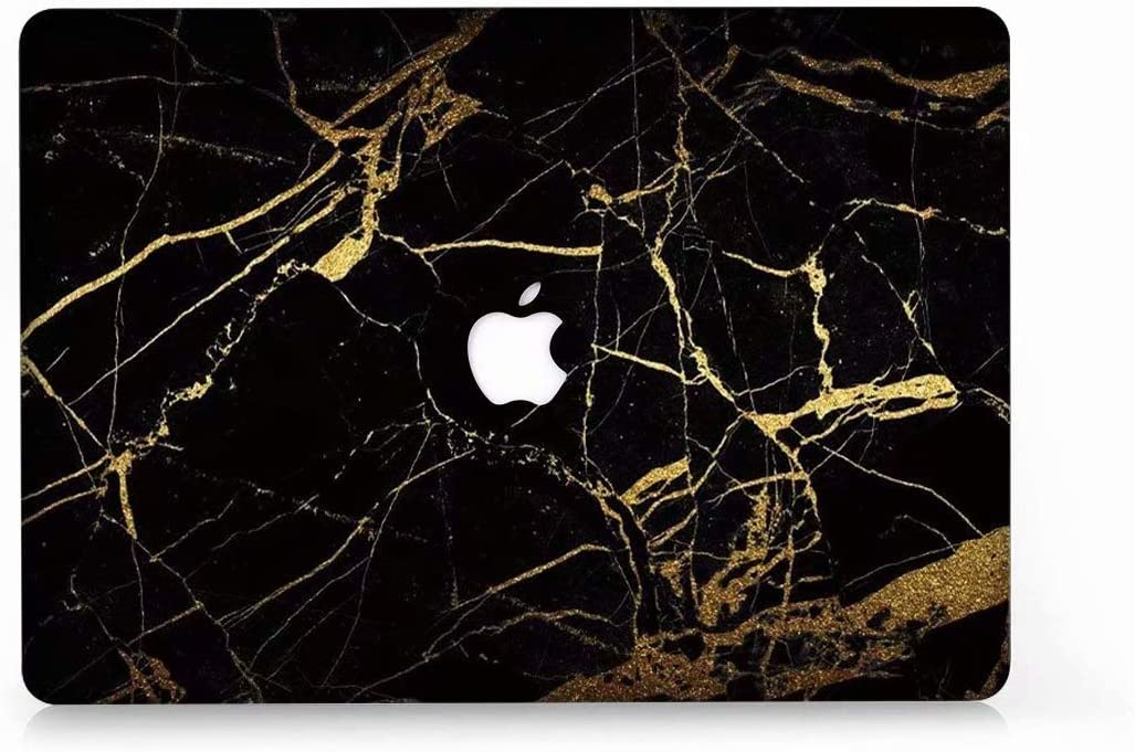 """MacBook Air 13 Case, AQYLQ Super Thin Rubberized Coated Laptop Cover Shell Protective for Apple 13 inch MacBook Air 13.3"""" Model A1466 / A1369, DL35 Black & Gold Marble"""