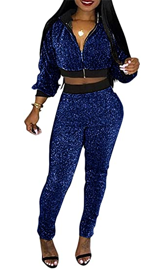 9fdf6ae7a3c0 Women Casual Zip Up Crop Top Velvet Two Piece Outfits High Waisted Pants  Set Sweatsuit Tracksuits