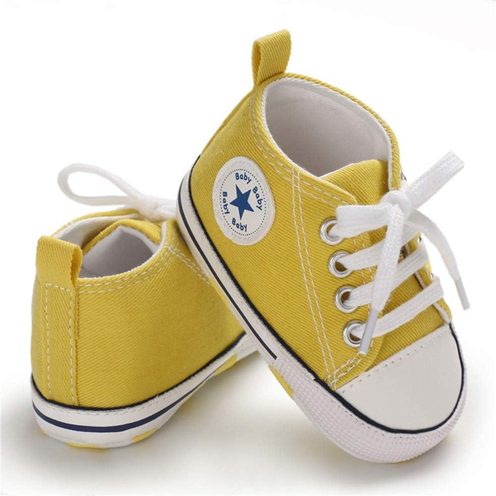Babycute Chaussures de Toile pour b/éb/é Baskets Occasionnelles /à Semelle Souple B/éb/és gar/çons de Filles Chaussures First Walkers Lace Up
