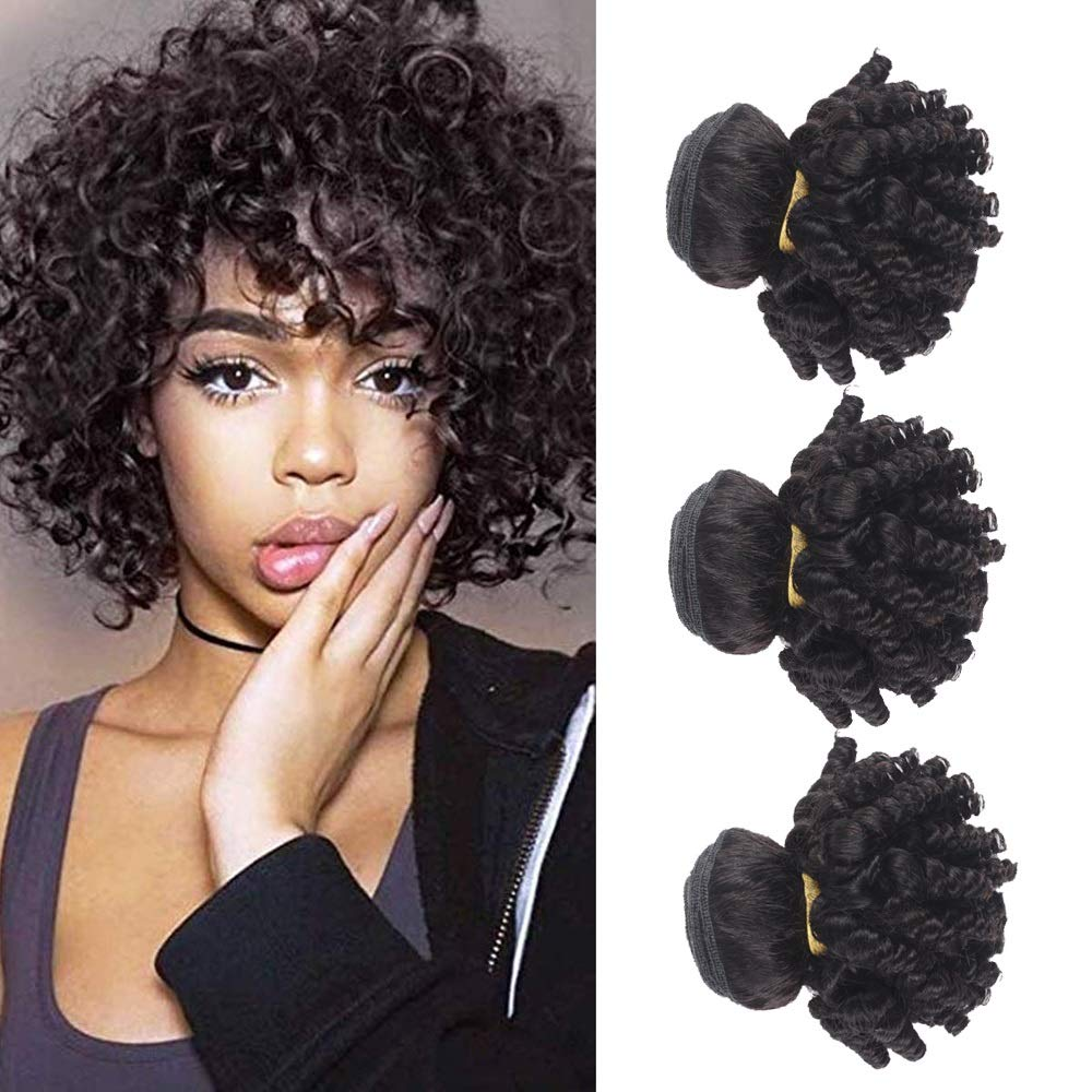 Amazon Com 3 Bundles Short Hairstyles Brazilian Virgin Hair Funmi Human Hair Bundles Aunty Bouncy Curly Afro Kinky Curly Hair Weave Spring Curls Raw Hair Extensions 300g 1b Black F 8 10 12 Inch Beauty
