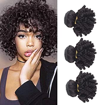 3 Bundles Short Hairstyles Brazilian Virgin Hair Funmi Human Hair Bundles  Aunty Bouncy Curly Afro Kinky...