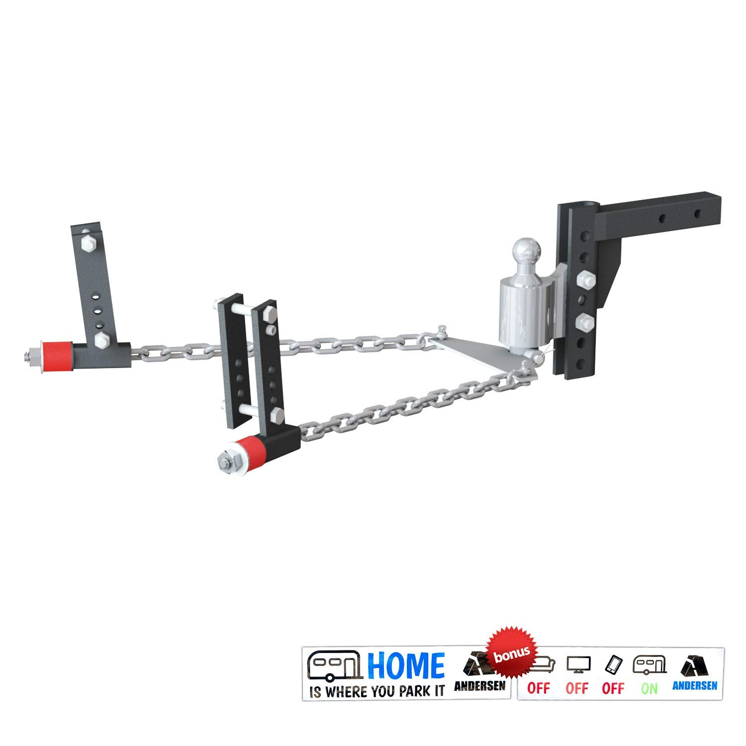 Andersen 3380 | Weight Distribution Hitch Kit, 8'' drop/rise, 2-5/16'' ball, 3'', 4'', 5'', 6'' frame by Andersen Hitches