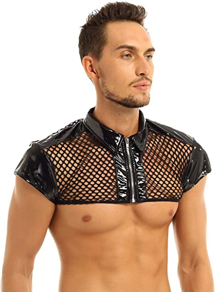 Details about  /Men See Through Mesh Shirt Clubwear Muscle Button Top Sport Crop Blouse Clubwear