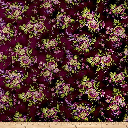 Maywood Studio Floral Bouquets Fabric, Aubergine, Fabric By The Yard
