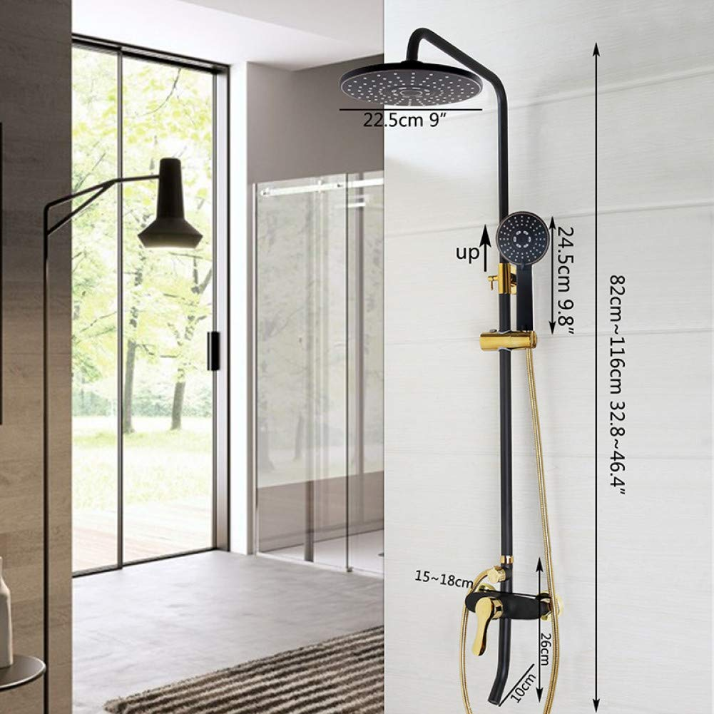 Black Shower 5 HUASAA Luxury Painting Bathroom Rain Mixer Shower Combo Set Wall Mounted Rainfall Shower Head System Black gold-plated Shower Faucet