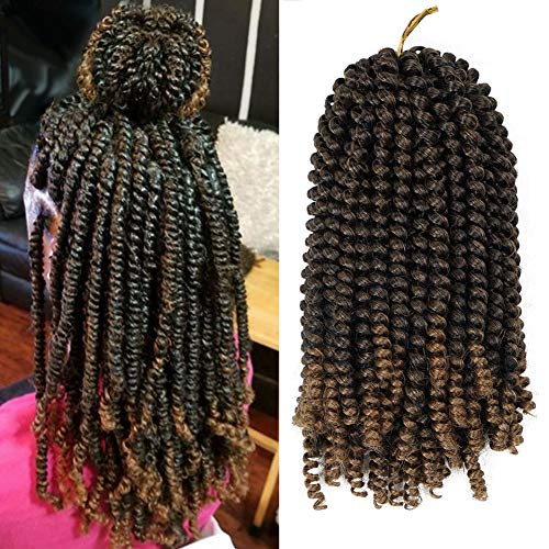 (3 Pack Spring Twist Hair Extensions Brown Burgundy Ombre Crochet Braids Braiding Hair Extensions 8 Inches Twist braiding hair)