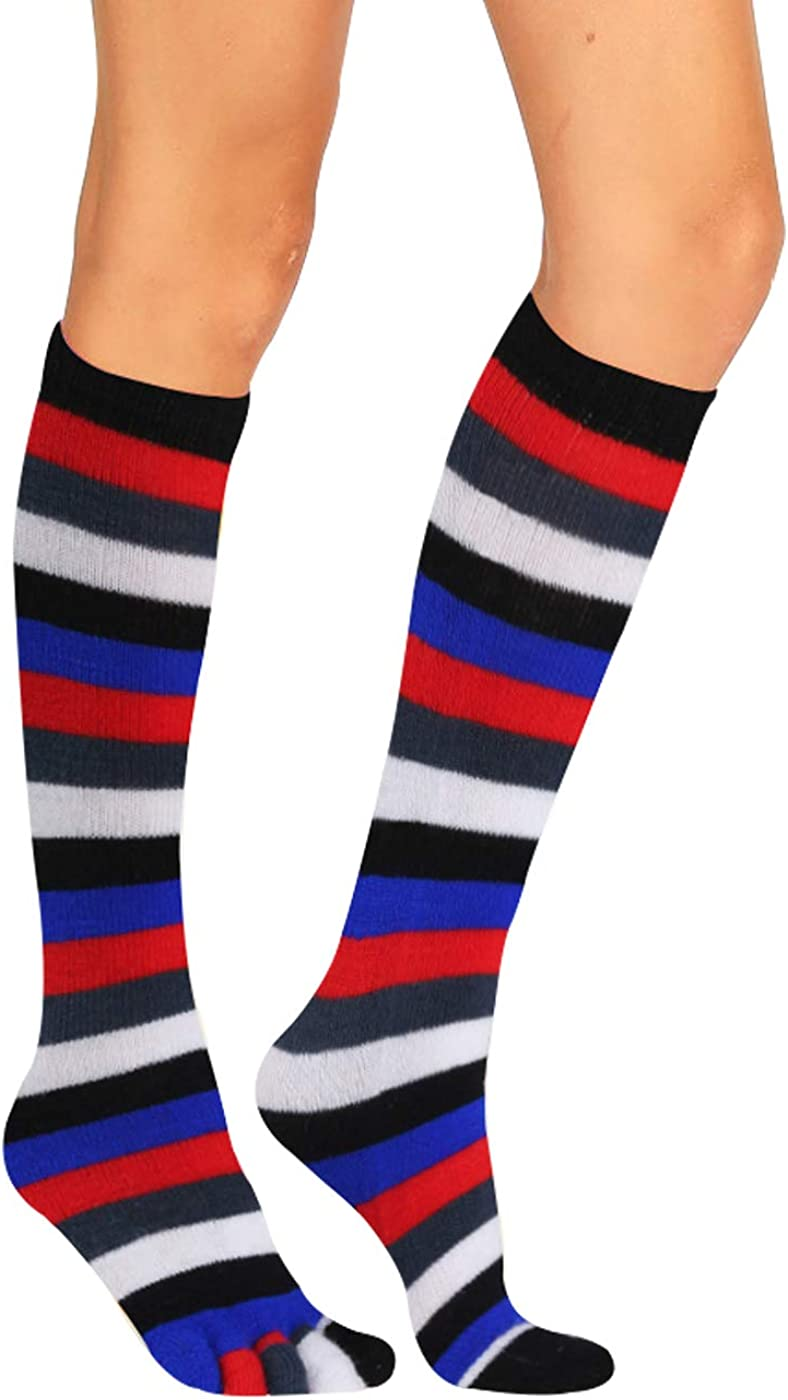 Ladies Rainbow Tights Stockings Over Knee Highs Stripes Santa Christmas Xmas