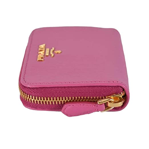 3eb5728b8cb3fe Prada 1MM268 2EZZ Fuxia Pink Saffiano Leather Zip Around Coin Purse Wallet  at Amazon Women's Clothing store: