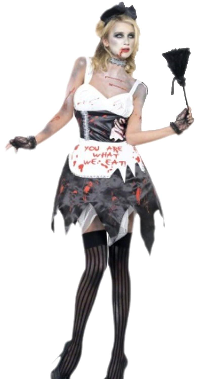 Halloweenia - Damen Zombie Haushälterin, Kostüm, Halloween, XS, Schwarz-Weiß