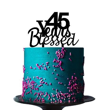 Amazon.com: 45 años Bendecido decoración para tarta para 45 ...