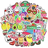 Waterproof Cute Vinyl Stickers Pack for Water Bottle Laptop for Teen Girls (50Pcs Beach Style)