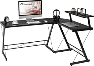 GreenForest L shaped Desk Computer Corner Desk With Large Monitor Stand For Home Office,Black