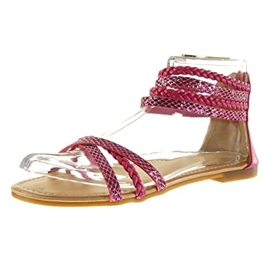 Angkorly Damen Schuhe Sandalen - Glitzer - Multi-Zaum - Geflochten Blockabsatz 1 cm