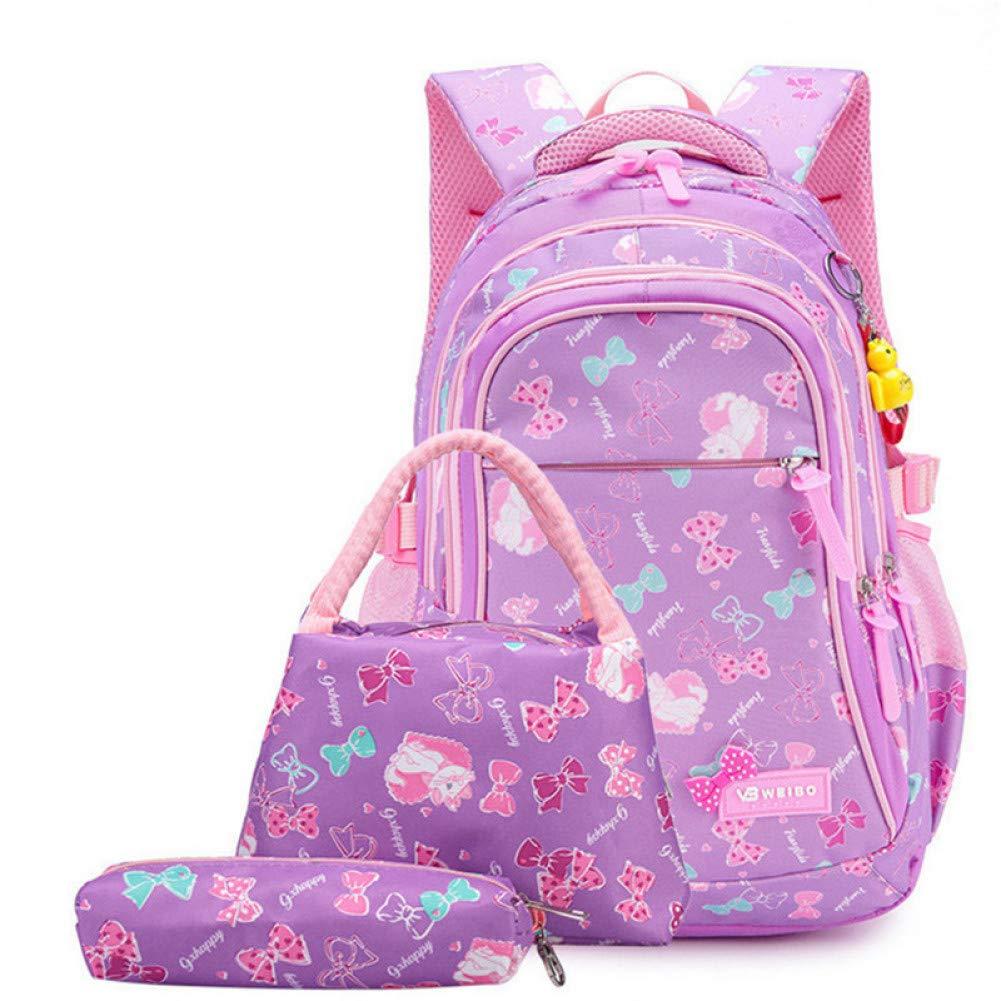 SGLOI Studentenrucksack 3 Teile Satz Kinder Schultaschen Mädchen wasserdichte Rucksack Kinder Cartoon Prinzessin schultaschen Set Lila