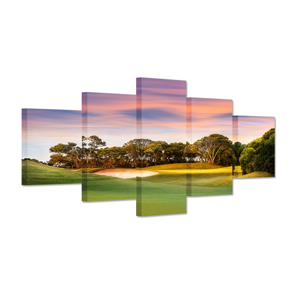 Hello Artwork - Canvas Prints Large 5 Panel Green Grass Golf Course Field At Sunset Wall Art The Picture Landscape With No Peple Golfer Sports Lover Gift For Living Room Decor