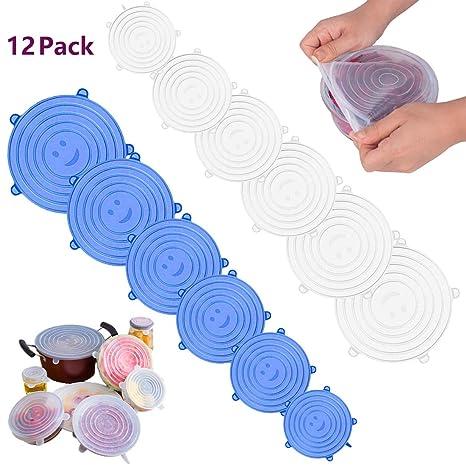 12 unidades de tapas elásticas de silicona reutilizables para ...