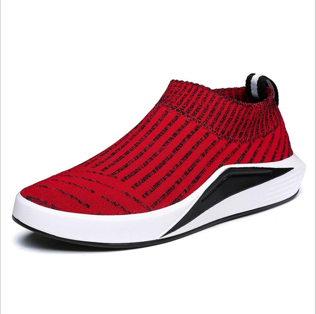 LHFJ  Herren Neue Skate Schuhe Mode Freizeit Korea Stil Schuhe Atmungsaktive Weiche Sportschuhe mit PU Bodengröße 41-44 (Farbe Rot, Grau)