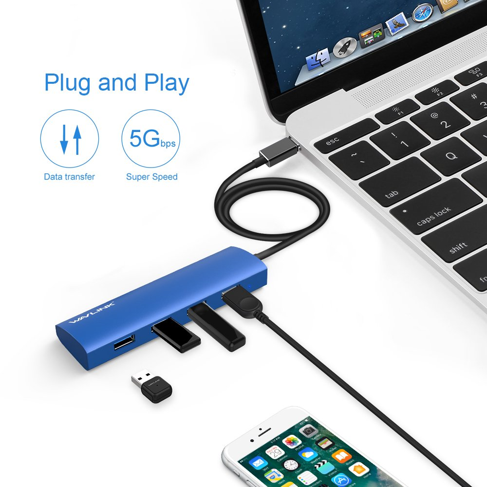 Blue USB-C 4-Port Hub,USB C Adapter,Wavlink Slim Aluminum,Type C 3.1 Hub with 4 Port USB 3.0 for USB-C Devices Including New Macbook Google Chromebook Pixel and More-