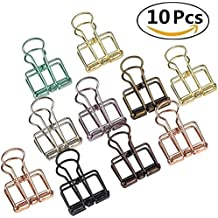 10 Pcs Hollow Metal Wire Binder Clip, HULISEN Paper Clips for For Art Display, DIY Projects, Home & Office Bill File, 8 Colors (Large)