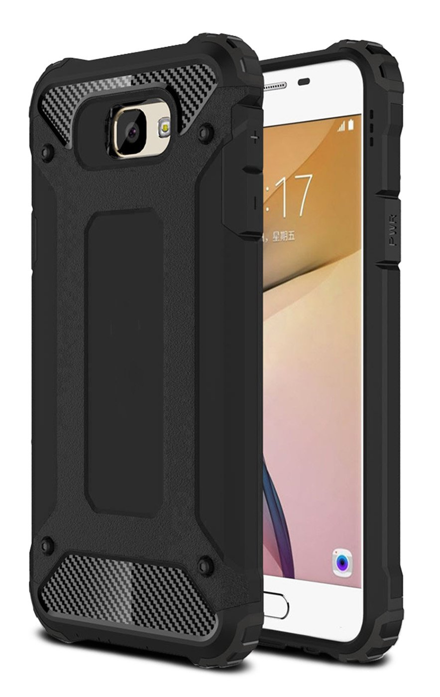 J7 Prime Case, Galaxy On7 2016 Case, J7 2017 Case, Hasting [Drop Protection] Dustproof Dual-layer Armor Hybrid Steel Style Protective Case for Samsung Galaxy J7 (2017) (Black)