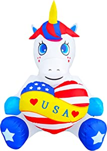 SEASONBLOW 4FT Patriotic Independence Day Inflatable Unicorn Holding Heart Decoration for Home Yard Lawn Garden Indoor Outdoor Decoration
