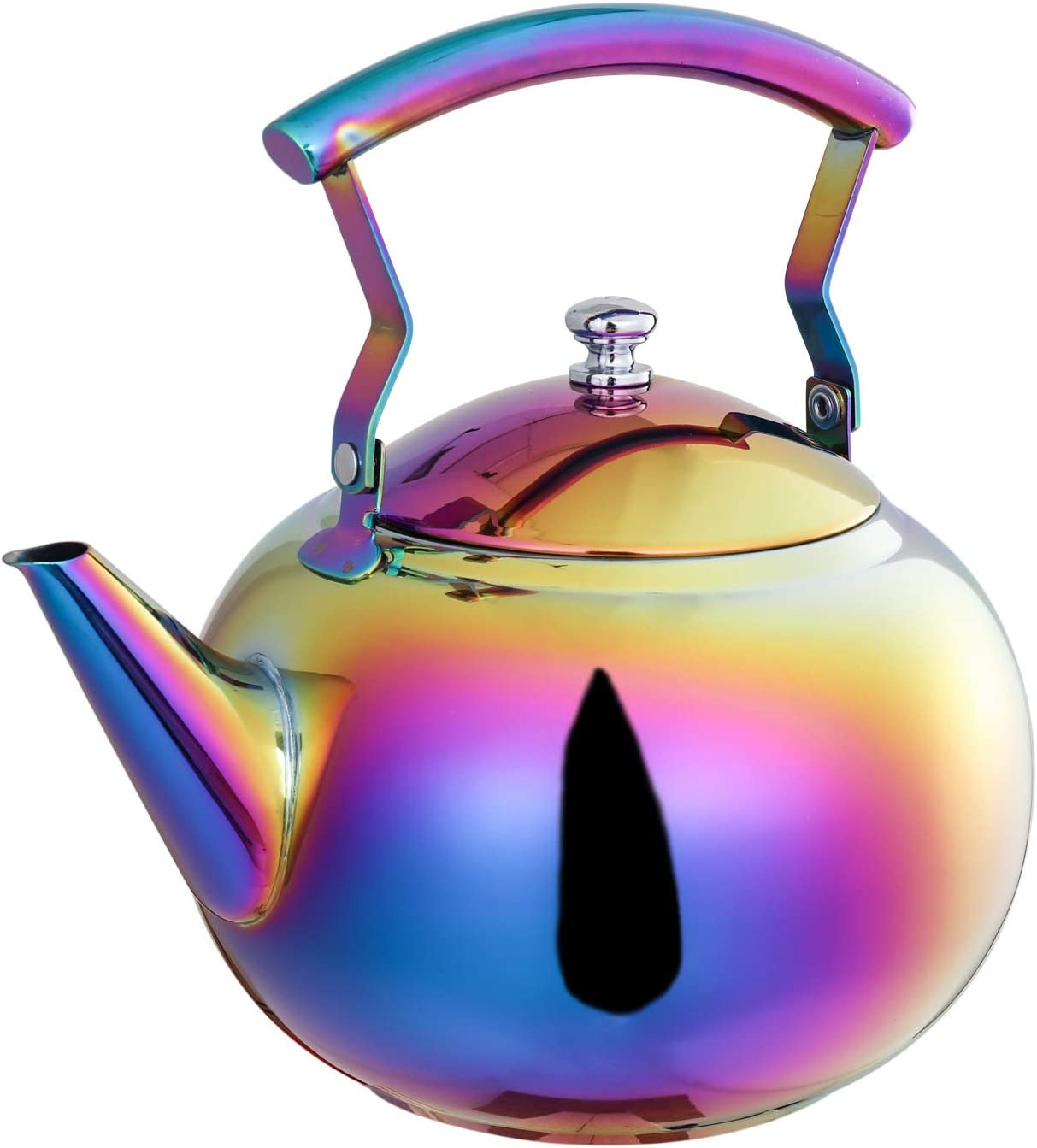 Rainbow Tea Kettle with Infuser for Loose Leaf,Stainless Steel Teapot 2 Liter Coffee Tea Pot Strainer, Colorful Teakettle for Stovetop Induction Stove Top Boiling Water 2 Quart 68 Ounce by ROYDOM