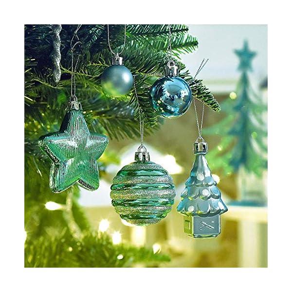 Valery Madelyn Palle di Natale 100 Pezzi di Palline di Natale, 3-5 cm Auguri Invernali Blu Verde e Nastro Infrangibile Ornamenti Palla di Natale Decorazione per Albero di Natale 4 spesavip