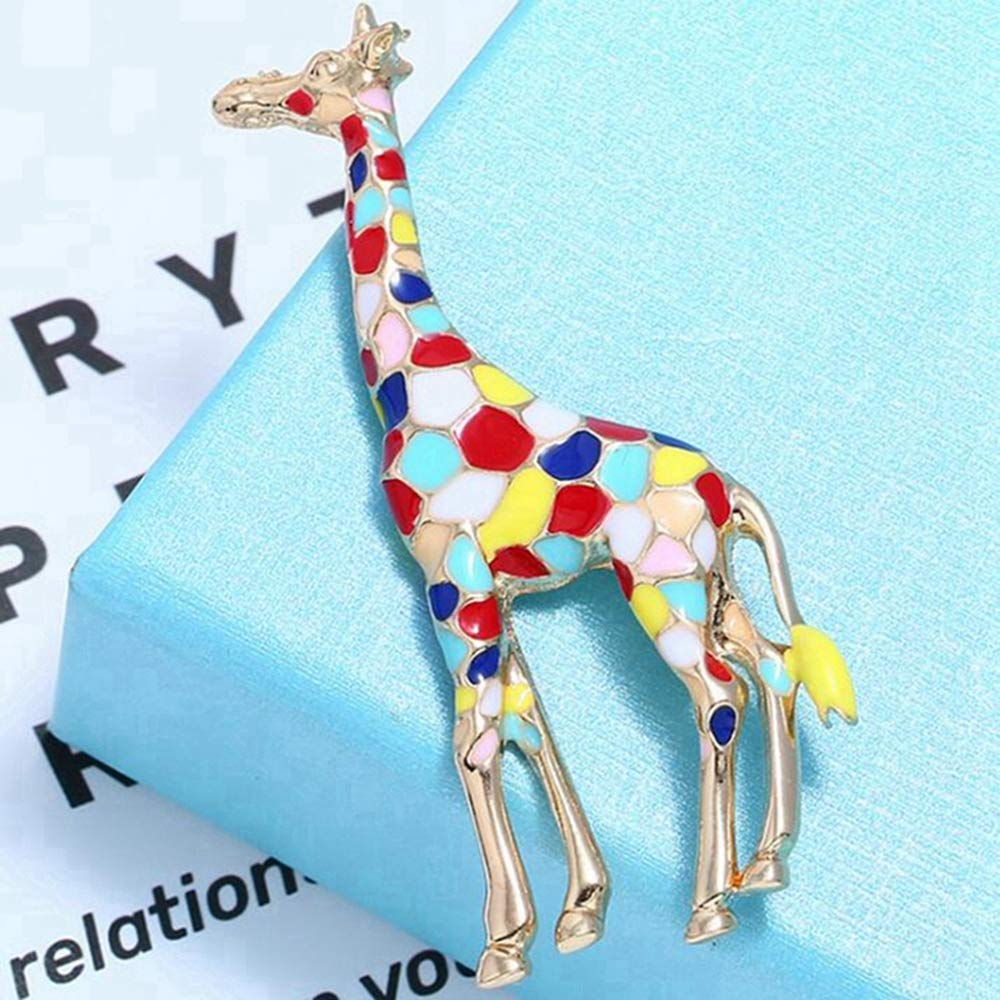 Male and Female Pin Brooch 2.2x6.4cm Sxuefang Brooch,Colored Drip Giraffe Brooch