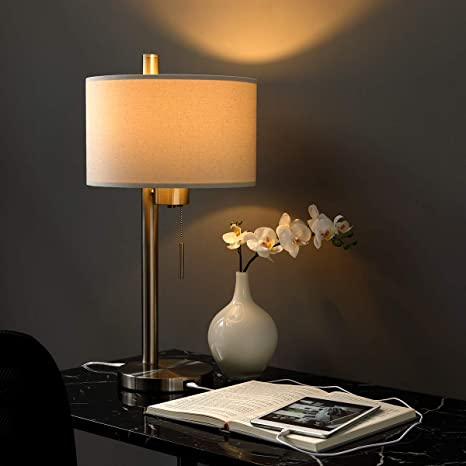 Modern Table Lamp with USB Port for Bedroom, Living Room, Study Desk ...