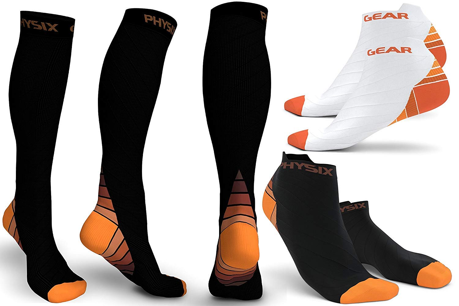 3 Pack Compression Socks for Men & Women 20-30 mmhg, Best Graduated Athletic Fit for Running Nurses Shin Splints Flight Travel & Maternity Pregnancy - Boost Stamina Circulation & Recovery ORG LXL
