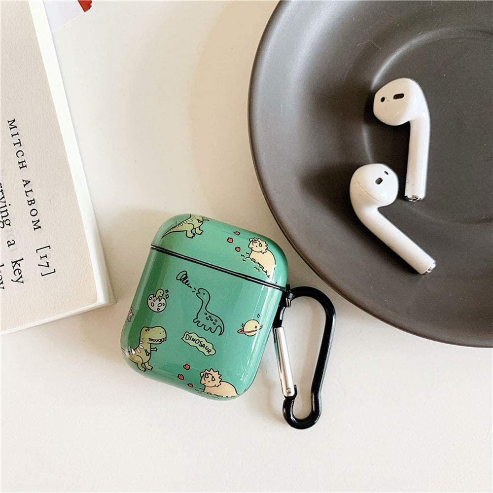 ICI-Rencontrer Fashion Bright Dinosaur Family Pattern Anti-Scratch Shockproof Waterproof Wireless Headphone Protective Case,Glossy Hard Plastic Portable AirPods Case With Hook For Airpods 1 /& 2 Green