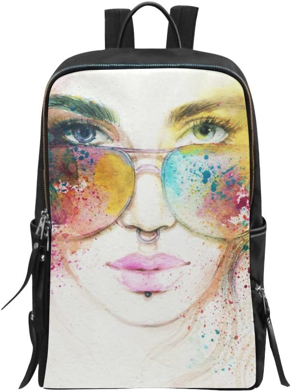 Abstract Fashion Woman with Sunglasses Portrait Bag Backpack Daypack