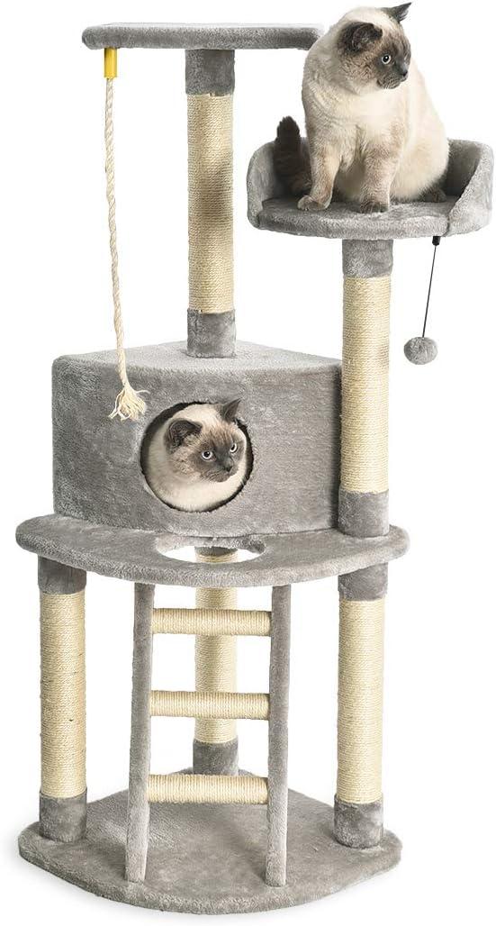 Amazon Basics - Torre en árbol con cerramiento, poste rascador y escalera para gatos, 48,3x48,3x132,1 cm, gris claro