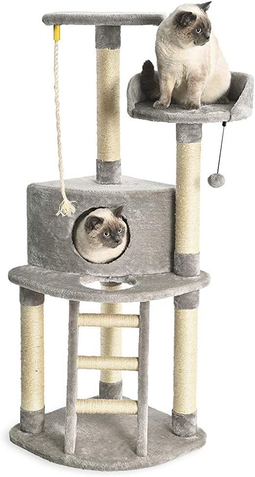 AmazonBasics - Torre en árbol con cerramiento, poste rascador y escalera para gatos, 48,3x48,3x132,1 cm, gris claro: Amazon.es: Productos para mascotas