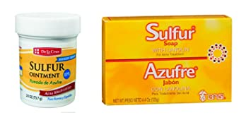 New De La Cruz 10% Sulphur Ointment Cream + Free Sulfur Soap Acne Blackhead  Spot Pimple Cyst Zit Blocked Pores Oily Skin