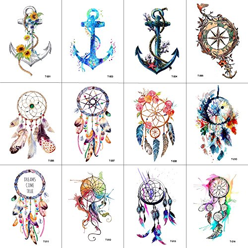 WYUEN 12 PCS/lot Dreamcatcher Anchor Temporary Tattoo Sticker for Women Men Body Art Waterproof Hand Fake Tatoo 9.8X6cm (Anchor Tattoos Women)