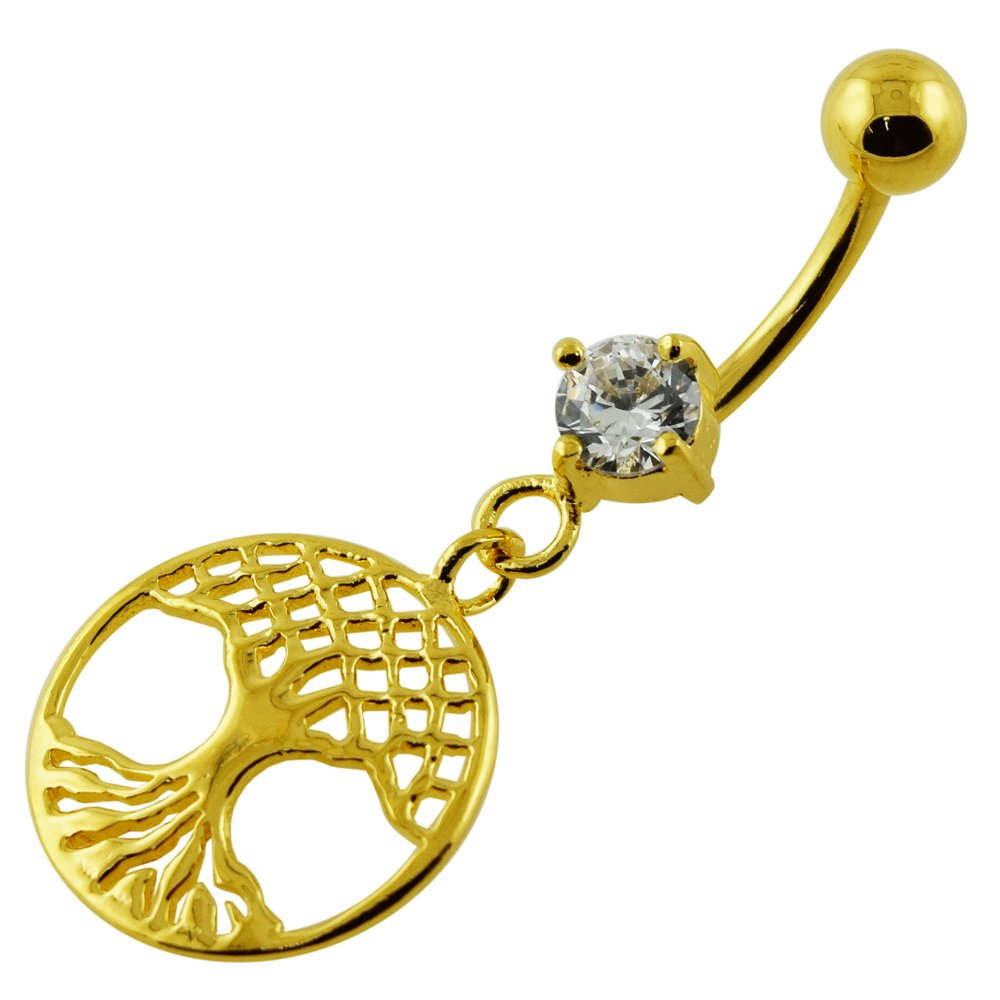 AtoZ Piercing 18K Gold Platting Over Fancy Tree of Life Dangle 925 Sterling Silver Belly Button Ring