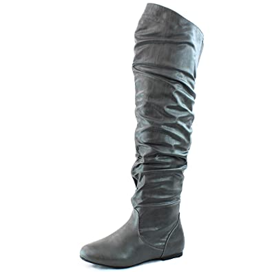 2ba72a59122 Dailyshoes Women's Fashion-Hi Over the Knee Thigh High Flat Slouch Boots  Grey Pu,