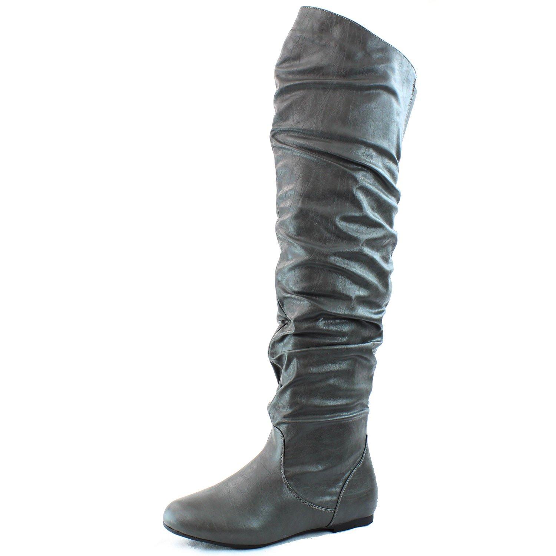 DailyShoes Women's Fashion-Hi Over-the-Knee Thigh High Flat Slouchly Shaft Low Heel Boots B00PGBL9PI 13 B(M) US|Gray Pu
