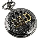 Carrie Hughes Gold DAD Steampunk Mechanical Skeleton Pocket Watch with Chain CHPW42