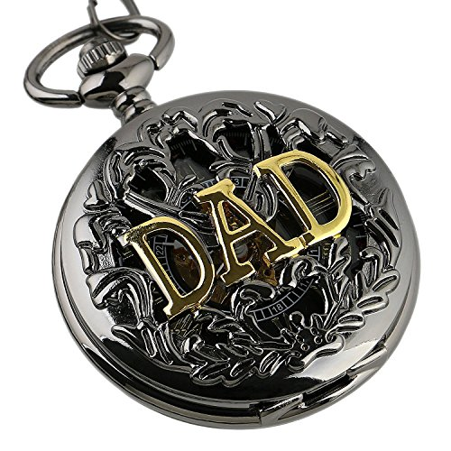 Carrie Hughes Gold DAD Steampunk Mechanical Skeleton Pocket Watch with Chain CHPW42 by Carrie Hughes