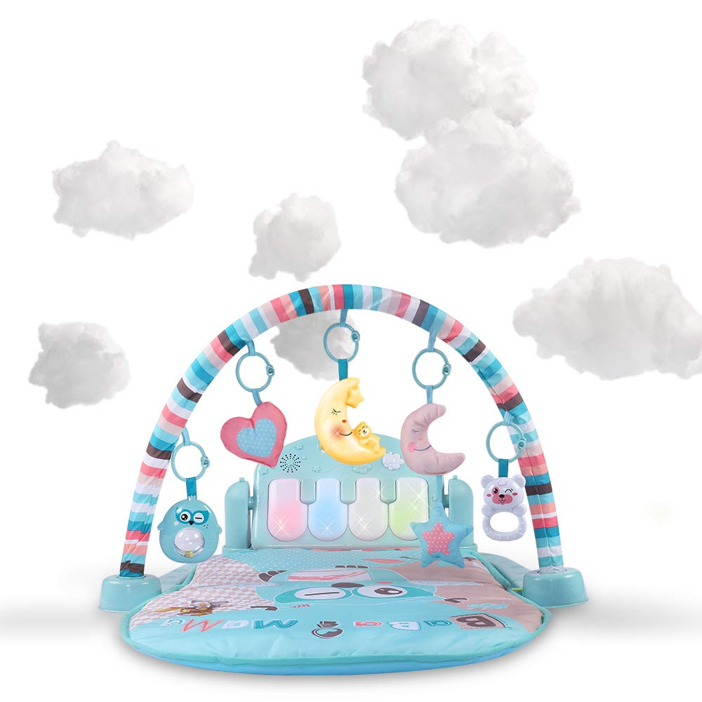 Baby Musical Activity Play Mat | Kick and Play Piano Gym Center with Hanging Rattlers and Light Up Toys | Electronic Learning Toys for Infants, Newborn, Girls and Boys Ages 1-36 Month (0-3 Years)